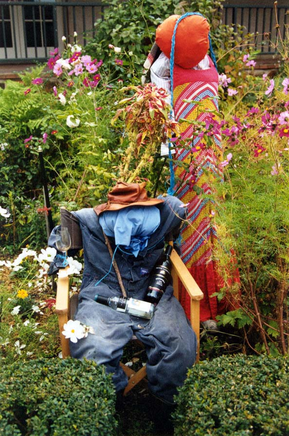 Scarecrow with bottles and glass